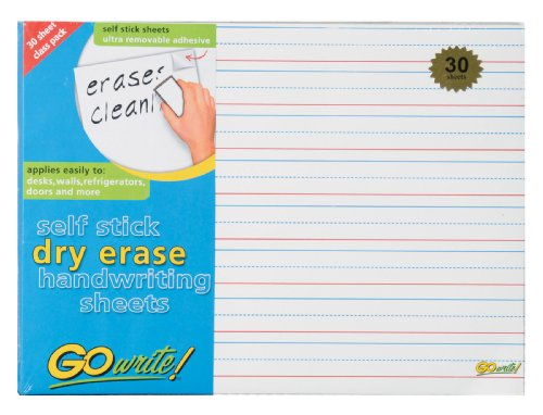 Gowrite Dry Erase Handwriting Ruled Sheets - Adhesive, 8.25 X 11 Inches, White, 30 Sheets (ASB8511LN)