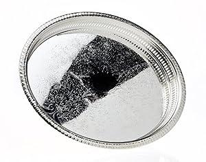 Godinger Round Gallery Tray, Silver