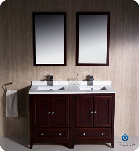 "Fresca Oxford 48"" Mahogany Traditional Double Sink Bathroom Vanity"