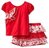 Nannette Girls Knit Shirt Woven Divided Skirt & Attached Short (2 Piece)