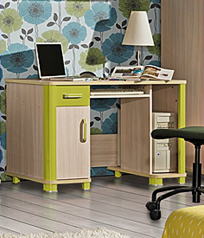 Schreibtisch Computertisch Kinderzimmer eiche milchig grün günstig bestellen