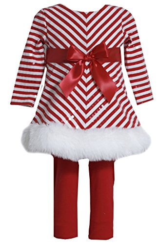 Bonnie Baby Baby Girls' Sparkling Mrs Claus Santa Christmas Dress & Leggings Set