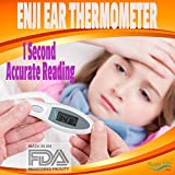 Enji Happy Care Best Baby Clinical Digital Ear Infrared Thermometer FDA approved Accurately Reads Internal Temperature in 1 Second Design Requires No Probe Covers Reads F or C Great for Kids and Adult! Best Gift!