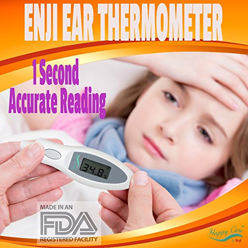 Best Baby Clinical Digital Ear Infrared Thermometer Enji Happy Care FDA approved Accurately Reads Internal Temperature in 1 Second Design Requires No Probe Covers Reads F or C Great for Kids and Adult