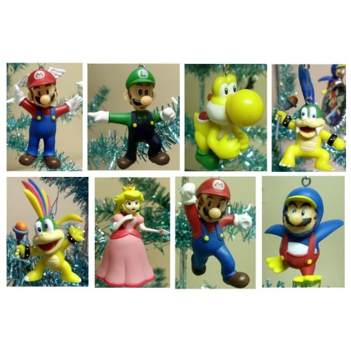 Super Mario Brothers Set of 8 Holiday Christmas Tree Ornaments Featuring Larry Koopa, Lemmy Koopa, Mario, Princes Peach, Yellow Yoshi, Luigi, Wing Mario, and Penguin Mario