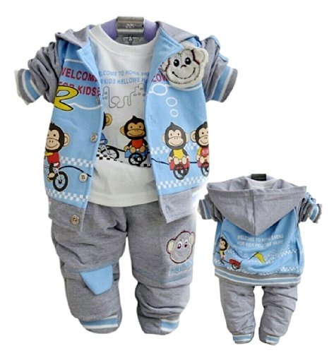 Sopo Baby Boy 3 Piece Outfits (Monkey Hooed Jacket, Tshirt, Pants) Blue 12M front-1040306