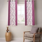 Enaakshi 2 Piece Polyester Eyelet Window Curtain - 5 ft, Purple and White