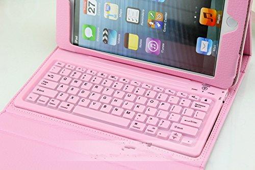 ipad mini4 ケース ipad mini4 カバー アイパッドミニ4 ケース タブレットPC 手帳型 カバー キーボード付 ケース Bluetooth おしゃれ 人気 ピンク