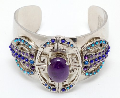 Amaro Jewelry Studio 'Rainy Skies' Collection Rhodium Plated Bangle Cuff Open Bracelet Crafted with Amethyst, Sodalite, Lapis Lazuli, Lavender, Blue Agate, Purple Jade, Blue Abalone, Blue Cat's Eye and Swarovski Crystals