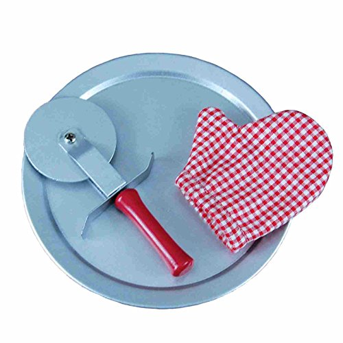 Pizza Time Realistic 18 Inch Doll Pizza Pan, Cutter & Red Check Oven Mitt Set! Sized Perfectly for Use with American Girl Dolls Accessories & Food and the Queen's Treasures Pizza's! (Pizza Pans 18 Inch compare prices)