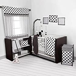 Bacati - Dots/pin Stripes Black/white 10 Pc Crib Set Including Bumper Pad