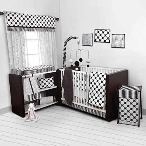 Bacati - Dots/Pin Stripes Black/White 10 Pc Crib Set Including Bumper Pad front-17115