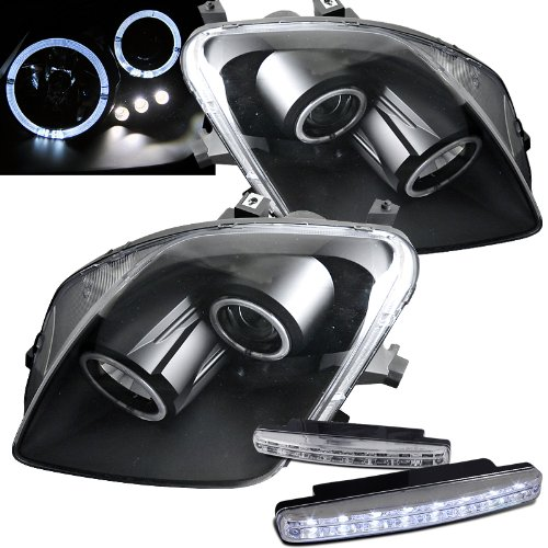 2000 Honda Prelude Headlights Projector Dua Halo + 8 Led Fog Bumper Light (Halo Lights For Honda Prelude compare prices)