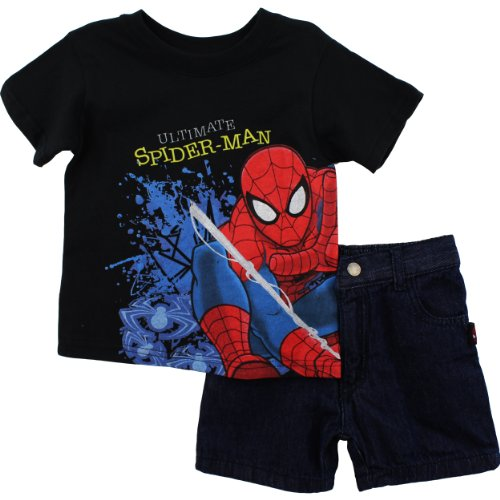 "Spider-Man ""Ultimate"" Black T-Shirt & Denim Shorts 2T-4T"