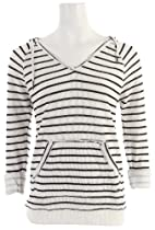 Roxy Juniors First Breath Sweatshirt, Sea Spray Toothy Printed Stripe, Medium
