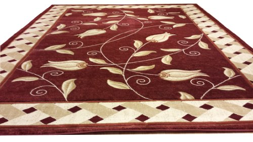 J711 Contemporary Modern Floral Hand Carved Red 5x8 Actual Size 5'3x7'2 Rug
