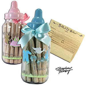 Bottled Up Wishes Pink Bottle Bank - Baby Shower Keepsake (Pink)