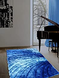 ~5 Ft. X 7 Ft. Turquoise Shaggy Area Rug with 3d Design, Hand Tufted, Now on Sale!