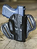 OUTBAGS LOB2P-G26 Black Genuine Leather OWB Open Carry Pancake, Side Carry Belt Holster for Glock 26 G26 9mm / Glock 27 G27 .40 / Glock 33 G33 .357 / Glock 39 G39 .45GAP. Handcrafted in USA.