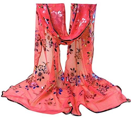 Longra Le donne annata del merletto del fiore colorato garza Veil Wrap (Anguria rossa)