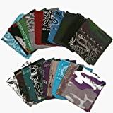 One Dozen (12) Pack Assorted Paisley/Solid Color Bandanas