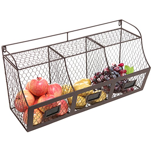 Large Rustic Brown Metal Wire Wall Mounted Hanging Fruit Basket Storage Organizer Bin w/ Chalkboards (Chicken Wall Shelf compare prices)