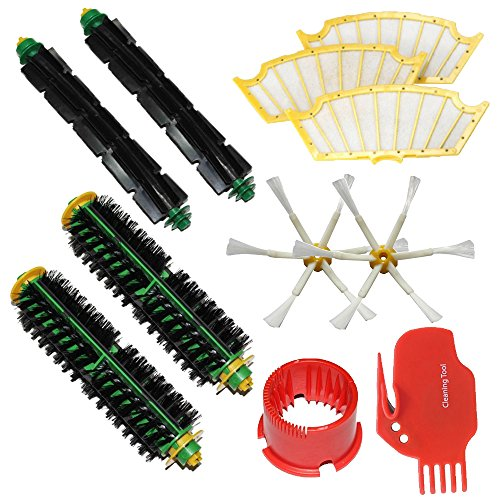 Shp-Zone Brush Cleaning Tools & Bristle Brush & Flexible Beater Brush & Side Brush 6-Armed & Filters Pack Kit For Irobot Roomba 500 Series Roomba 510, 530, 535, 540, 560, 570, 580, 610 Vacuum Cleaning Robots All Green, Red, Black Cleaning Head front-536342