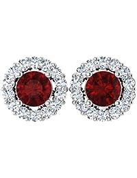 Forever Carat Gold Earring Real Diamond Earrings Natural Ruby Gemstone Earrings