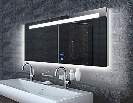 LED orologio specchio e INTERRUTTORE TOUCH 160x65 cm
