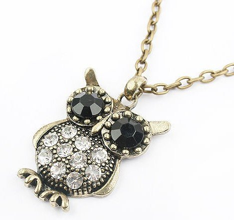 BUYINHOUSE Antique Vintage Retro Adorable Cute Jewelry Rhinestone Full Body Gem Owl Long Necklace Pendant For Sweaters Hoodies