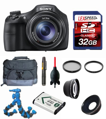 Sony DSC-HX300/B DSCHX300V DSC-HX300V + Wide Angle + Telephoto Lens + Case + Battery + Flexpod + Filters + 32GB (10) Deluxe Bundle