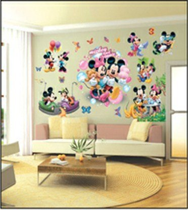 Enfants stickers muraux grand disney mickey mouse minnie for Decor mural adhesif