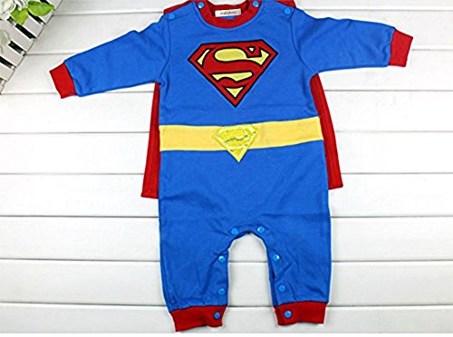 StylesILove Baby Boy Superman Costume Jumpsuit and Cape Blue (6-12 Months)