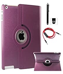 DMG Full 360 Degree Rotating Leather Cover Smart Case for Apple iPad 2/3/4 with Aux Cable with Mic, Stylus, DMG Wristband -Purple