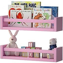 Set of 2 Nursery Room Wall Shelf Light Pink Wood