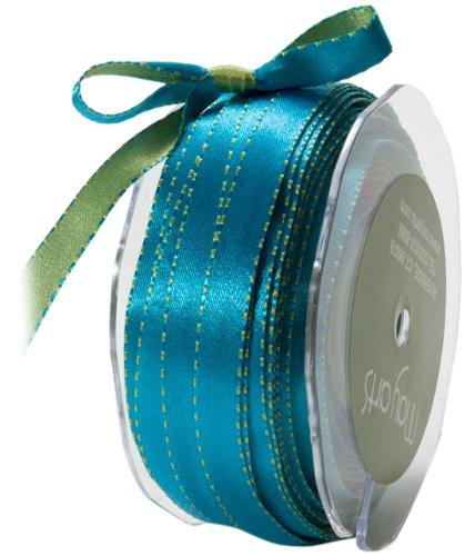May Arts 3/8-Inch Wide Ribbon, Blue and Green Satin