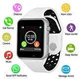 Smart Watches, JACSSO Touch Screen Bluetooth Smartwatch with Camera Unlocked Smart Watch with SIM TF Card Slot Smart Wrist Watch Compatible Android Phones Samsung LG iOS iPhone for Men Women Kids (Color: Silver white)