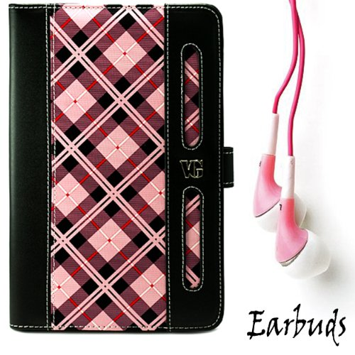 "Limited Edition Pink Plaid Protective Slim And Durable Professional Faux Leather Executive Portfolio Cover Carrying Case With Memory Card Slots For Amazon Kindle Fire Full Color 7"" Multi-Touch Display, Wi-Fi (Newest Tablet) + Includes A Crystal Clear High"