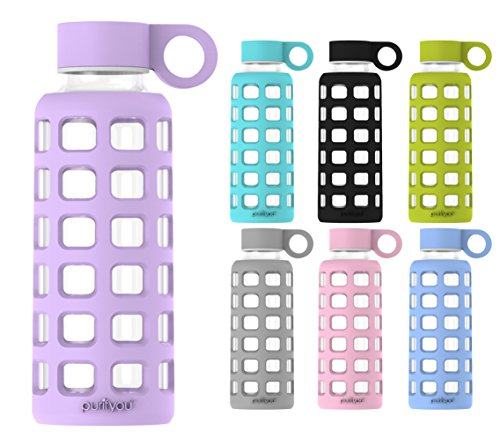 purifyou Premium Glass Water Bottle with Silicone Sleeve & Stainless Steel Lid Insert, 12 / 22 / 32 oz (Glass Water With Filter compare prices)