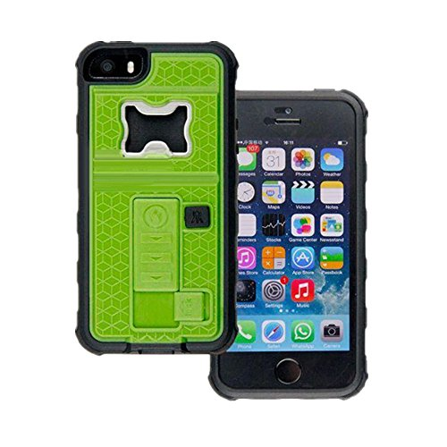AnyShock Multi-tool Cigarette Lighter / Beer Bottle Opener/ Camera Stable Tripod Shockproof Defender Case Cover for iPhone SE/5S (Green)