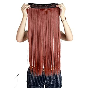 "S-noilite® 24""/26"" Straight Curly 3/4 Full Head One Piece 5clips Clip in Hair Extensions Long Poplar Style for Xmas Gifts 22colors (26""-Straight, auburn ginger)"