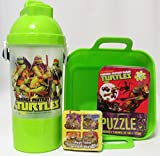 Bundle - 4 Items: Teenage Mutant Ninja Turtles Rock N Sip N Snack Canteen, Magic Towel, Puzzle and Bin Set