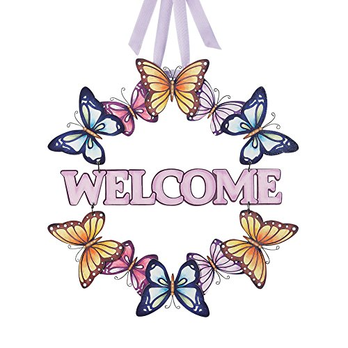 Wooden Butterfly Welcome Wreath
