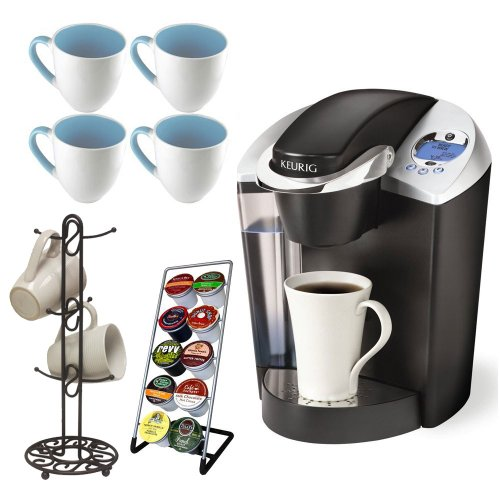 Keurig B60 Special Edition Gourmet Single-Cup Home-Brewing System Coffeemaker + 4 Piece 16 oz. Stoneware Coffee Mug in Baby Blue + Vertical 10 K-Cup Holder + Mug Tree Flat Wire Chrome Finish