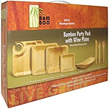 Bamboo Steath Wine Plate Party PackSold As 12