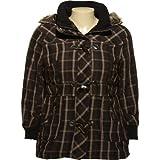 JUNIOR PLUS - DOLLHOUSE Plaid Parka W/ Removable Fur Trim Hood[6235XB]NVY/BEIG
