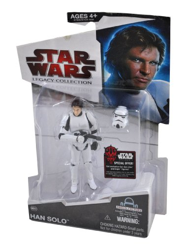 Buy Low Price Hasbro Star Wars Year 2009 Legacy Collection Droid Factory Series 4 Inch Tall Action Figure – BD02 HAN SOLO in Stormtrooper Outfit with Blaster Pistol, Stormtrooper Removable Helmet and Droid L8-L9's Left Arm (B00479HZE4)