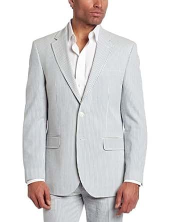 Tommy Hilfiger Men's Trim Fit 2 Button Side Vent Seersucker Sport Coat,  Blue, 48 Long