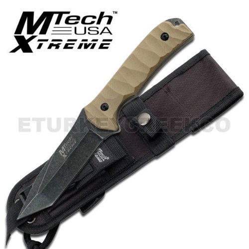 """Mx-8065. M-Tech Xtreme Tactical Fighting Knife 10"""" Overall With Case Fixed Blade Knife 10"""" Overall 5Mm Thickness Black Stonewash Finished Blade 4.5"""" Tanto Blade Tan Color G10 Handle Includes Black Molle Sheath Knife Fixed Blade Knife Hunting Sharp Edge St"""
