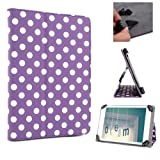 ANLADIA Purple Polka Dot Premium PU Leather Folio/ Flip Case Cover Wallet Stand Protection Protector BOOK Skin For 10